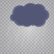 Abstract Cloud with Rain Drops on Transparent Background. Vector Piirros