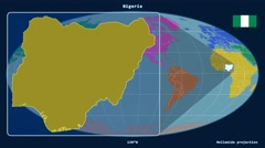 Nigeria - 3D tube zoom (Mollweide projection). Continents - stock footage