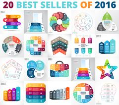 Best vector circle infographics set. Business diagrams, arrows graphs, startup - stock illustration