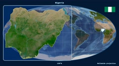 Nigeria - 3D tube zoom (Mollweide projection). Satellite - stock footage