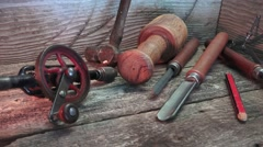 Vintage craftsman hand tools on bench - stock footage