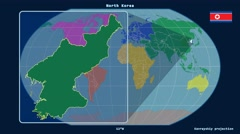 North Korea - 3D tube zoom (Kavrayskiy VII projection). Continents Stock Footage