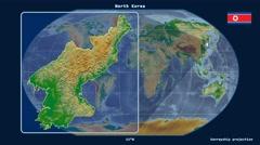 North Korea - 3D tube zoom (Kavrayskiy VII projection). Bumps shaded - stock footage