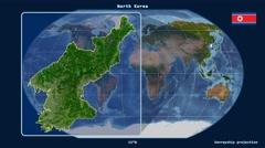North Korea - 3D tube zoom (Kavrayskiy VII projection). Satellite Stock Footage