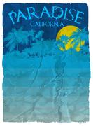 California beach Typography Graphics. T-shirt Printing Design for sportswear - stock illustration