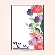 Painting flower icon. Floral wedding design. Vector graphic Stock Illustration