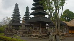 Tiered Pagodas of Pura Taman Ayun, Royal Hindu Temple in Bali, Indonesia Stock Footage