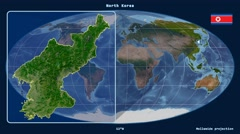North Korea - 3D tube zoom (Mollweide projection). Satellite Stock Footage