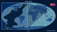 North Korea - 3D tube zoom (Mollweide projection). Solids - stock footage