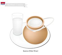 Karewe or Palm Wine, A Famous Beverage in Kiribati Stock Illustration