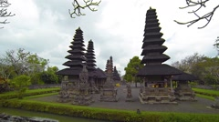 Unique, Tiered Pagodas of Taman Ayun Royal Temple in Bali Stock Footage