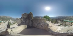 4K 360VR video, Spain landmarks picturesque village on high cliff Guadalest. Stock Footage