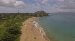 Aerial Maluaka Beach, Kihei, Hawaii Stock Footage