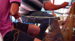 Fishermen Repair Fishnet Fishing Lines Stock Footage