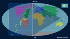 Palau - 3D tube zoom (Mollweide projection). Continents - stock footage