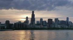 Chicago Skyline Reflected on the Lake at Sunset Hyperlapse Stock Footage