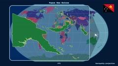Papua New Guinea - 3D tube zoom (Kavrayskiy VII projection). Administrative Stock Footage