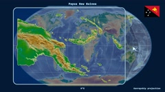 Papua New Guinea - 3D tube zoom (Kavrayskiy VII projection). Bumps shaded Stock Footage