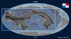 Panama - 3D tube zoom (Mollweide projection) - stock footage