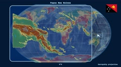 Papua New Guinea - 3D tube zoom (Kavrayskiy VII projection). Relief - stock footage