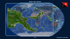 Papua New Guinea - 3D tube zoom (Kavrayskiy VII projection). Satellite - stock footage