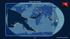 Papua New Guinea - 3D tube zoom (Kavrayskiy VII projection). Solids Stock Footage