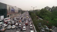 Vehicles stuck in a traffic jam in Delhi Stock Footage