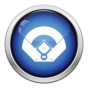 Baseball field aerial view icon - stock illustration