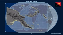 Papua New Guinea - 3D tube zoom (Kavrayskiy VII projection) Stock Footage
