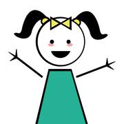 happy girl with pigtails icon stick figure - stock illustration