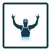 Football fan with hands up icon - stock illustration