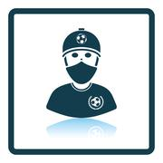 Football fan with covered  face by scarf icon Stock Illustration