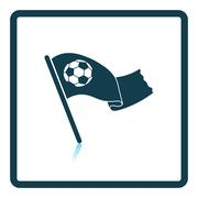 Football fans waving flag with soccer ball icon - stock illustration