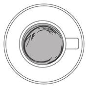 Coffee cup topview icon Stock Illustration