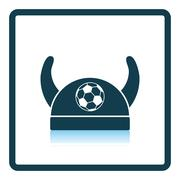 Football fans horned hat icon - stock illustration