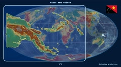 Papua New Guinea - 3D tube zoom (Mollweide projection). Relief Stock Footage