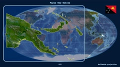 Papua New Guinea - 3D tube zoom (Mollweide projection). Satellite - stock footage