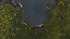 Aerial Waianapanapa Black Sand Beach Hawaii Stock Footage
