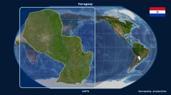 Paraguay - 3D tube zoom (Kavrayskiy VII projection). Satellite Stock Footage