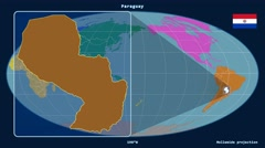 Paraguay - 3D tube zoom (Mollweide projection). Continents - stock footage