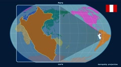 Peru - 3D tube zoom (Kavrayskiy VII projection). Continents - stock footage