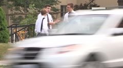 Mormons harass college and university students near campus Stock Footage