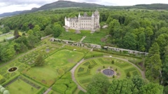 Aerial drone view Dunrobin Castle in Scotland Stock Footage