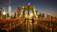 Timelapse View of the Brooklyn Bridge at Night in New York City, United States Stock Footage