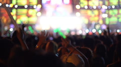 People having fun at rock concert slow motion Stock Footage