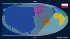 Poland - 3D tube zoom (Mollweide projection). Continents Stock Footage