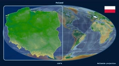 Poland - 3D tube zoom (Mollweide projection). Bumps shaded Stock Footage