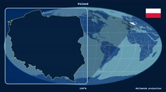 Poland - 3D tube zoom (Mollweide projection). Solids Stock Footage