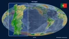 Portugal - 3D tube zoom (Mollweide projection). Bumps shaded - stock footage