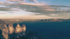 Sunset at The Three Sisters, Blue mountains, Australia Stock Footage